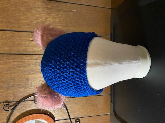 Fur Pom ear hat blue