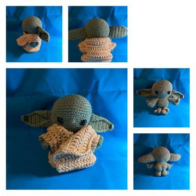 Medium size baby Yoda Grogu inspired amigurumi