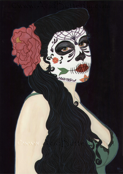 Sugar Skull Pin Up http://www.acidbutterfly.com/catalog.php?item=378