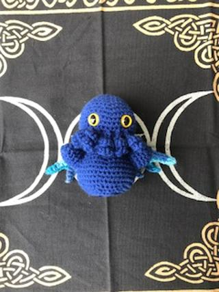 Blue baby Cthulu mottled wings medium