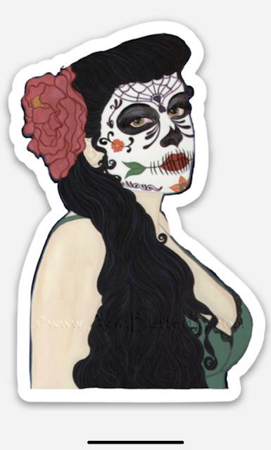 Sugar Skull pinup sticker